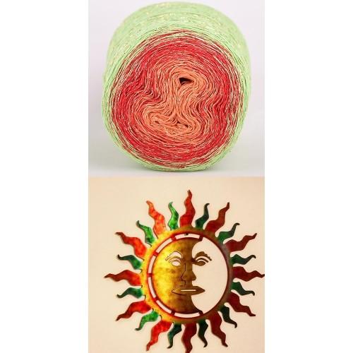 light green, red, orange with golden lurex
