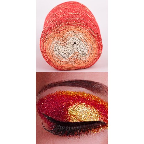 red, orange, ecru with golden lurex