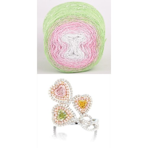 light green, pink, white with silver lurex