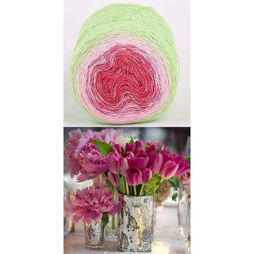 green, pink, raspberry with silver lurex