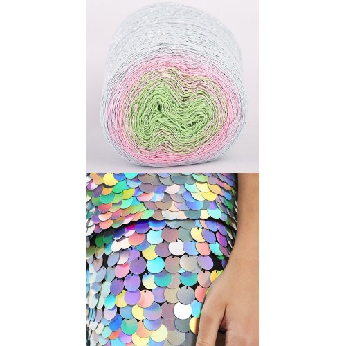 light blue,pink, green with silver lurex