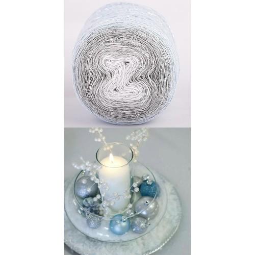 light blue, grey, white with silver lurex