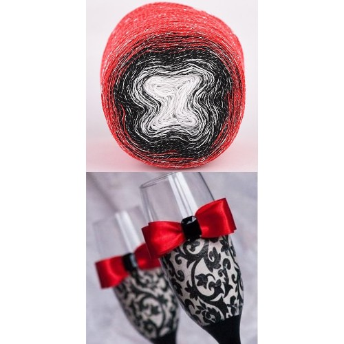 red, black, white with silver lurex