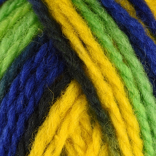 yellow, bright green, dark blue